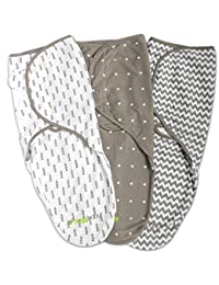 Swaddle Blanket, Adjustable Infant Baby Wrap Set by Ziggy Baby, 3 Pack Soft Cotton in Grey BOBEBE Online Baby Store From New York to Miami and Los Angeles