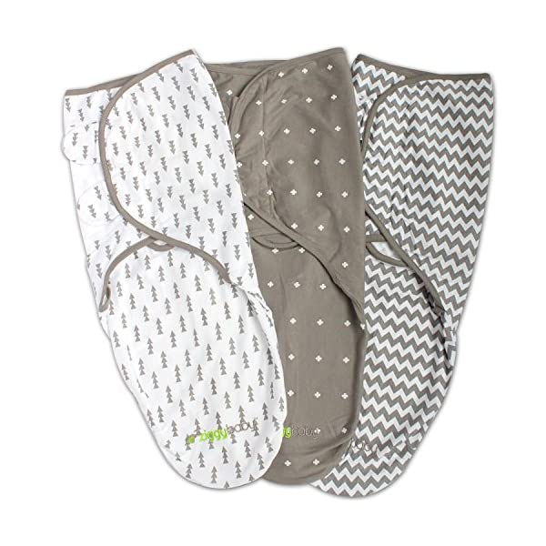 Swaddle Blanket, Adjustable Infant Baby Wrap Set 3 Pack Soft Cotton in Grey