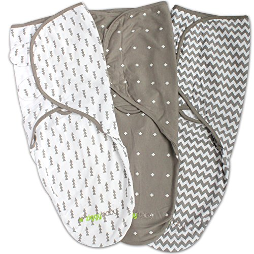 (Swaddle Blanket, Adjustable Infant Baby Wrap Set by Ziggy Baby, 3 Pack Soft Cotton in Grey)
