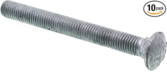 A307 Grade A Hot Dip Galvanized Steel Prime-Line 9064160 Carriage Bolts 3//8 in.-16 X 10 in. 10-Pack