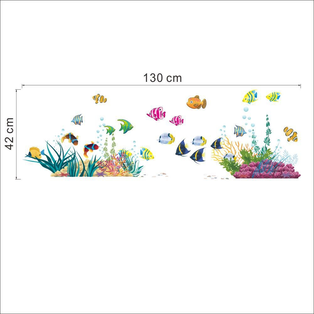 ElecMotive Ocean Wall Stickers for Under the Sea Theme Fish Coral Wall Mural Multicolored for Nursery Kids Room (Fish Coral) EW-013116