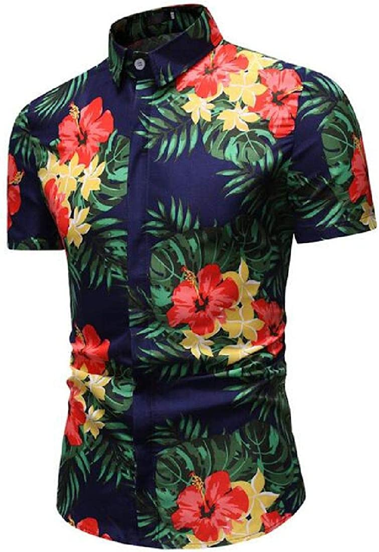 Rrive Mens Floral Printing Casual Slim Fit Short Sleeve Button Down Shirt