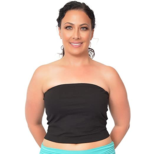 c80e3622f61 Stretch Is Comfort Women s Plus Size Crop Tube Top at Amazon Women s ...