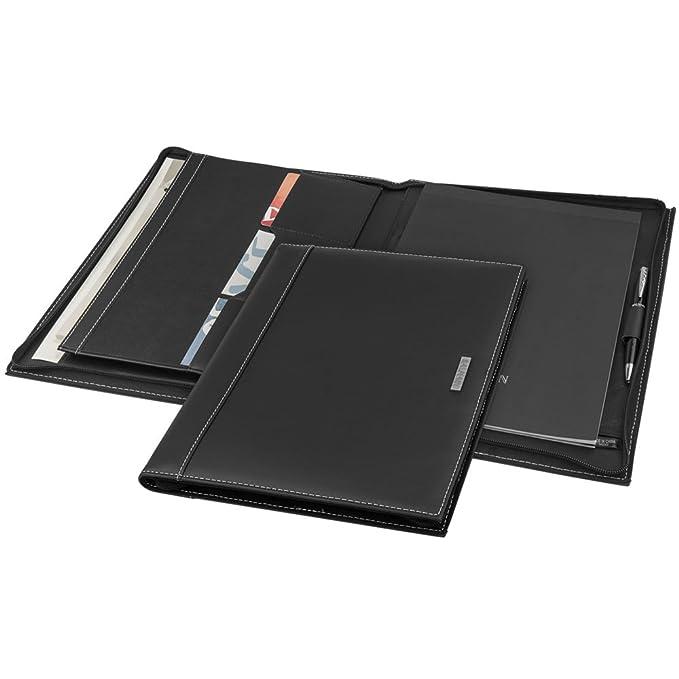 Balmain portadocumentos cremallera A4 piel sintética color negro personalizado de un nombre: Amazon.es: Informática