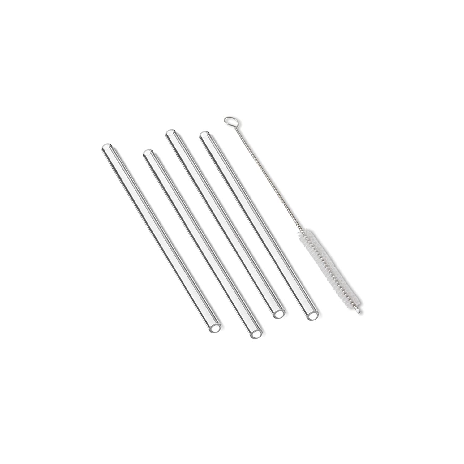 Straight Outset Chillware 76431 Reusable Drinking Straws Glass Set of 4 with Cleaning Brush FOX RUN