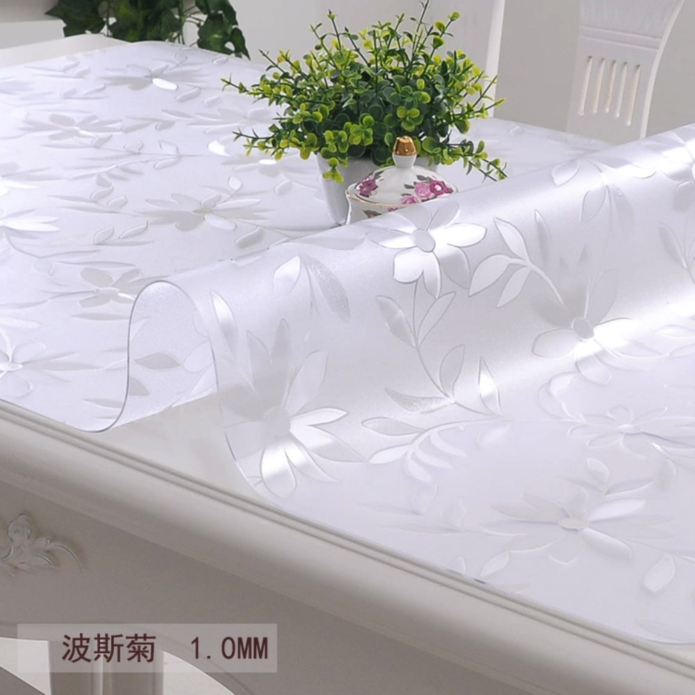 XKQWAN soft glass Pvc table cloth waterproof Burn-proof Oil-proof Disposable Transparent table mat Table cloth Frosted Crystal pad tablecloth-B 85x135cm(33x53inch)