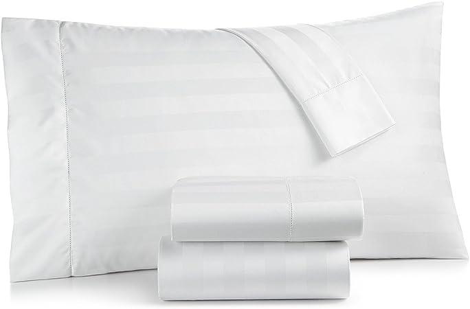 Amazon Com Charter Club Damask Stripe 550 Thread Count Supima Cotton 4 Piece Queen Sheet Set White Home Kitchen