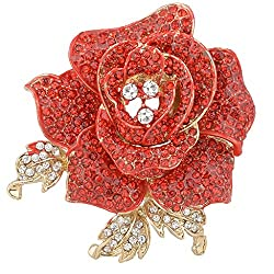 Crystal Blooming Beautiful Rose Flower Brooch