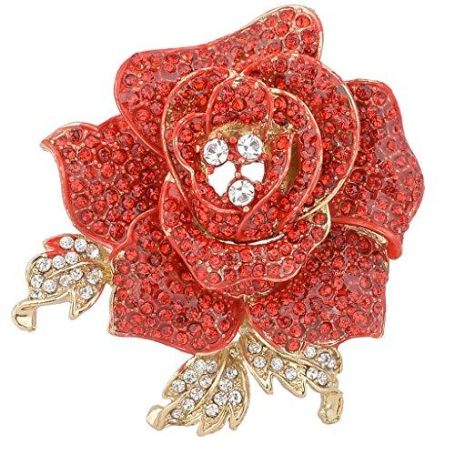 EVER FAITH Womens Austrian Crystal Blooming Beautiful Rose Flower Brooch