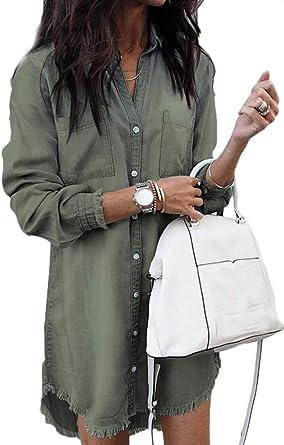 Vestido Mujer Casual Vaquero Mini Split Dobladillo Manga Larga Camisa Vestidos con Bolsillo: Amazon.es: Ropa y accesorios