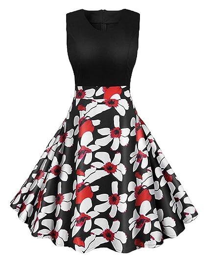 de137fdc79e04 Vestidos Vestido de Cuello Redondo Estilo años 80 años Audrey Hepburn para  Mujer (Color