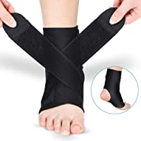 DOACT Ankle Brace, Foot Wrap Support with PE Board Strength Stabilize for Men and Women, Adjustable Neoprene Thin Compression Brace for Ankle Sprain, Arthritis, Strain, Can be Wear in Shoes