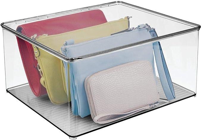 Caja plegable para ba/ño Organizador de armario apilable en poli/éster con aspecto tricotado mDesign Caja organizadora mediana con tapa y asa dormitorio o habitaci/ón infantil beis y natural
