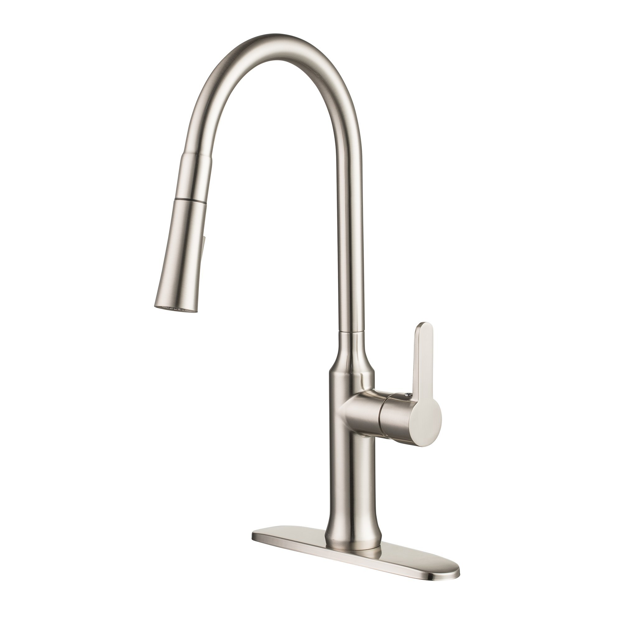 Enzo Rodi Modern High-arc Lead-free Brass Pull-down Kitchen Sink Faucet with Pull-out Sprayer, Stainless Steel, ERF7355389AP-10