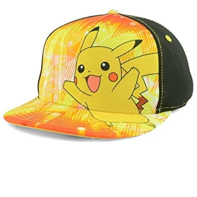 79cca291915 Bioworld Pokemon Pikachu Happy Snapback Hat Cap Youth Boys Size OSFM ...