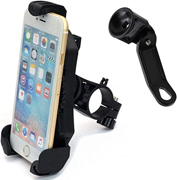 360° Rotation Motorcycle Phone Holder Mount Stand w// Two Bracket Mounting