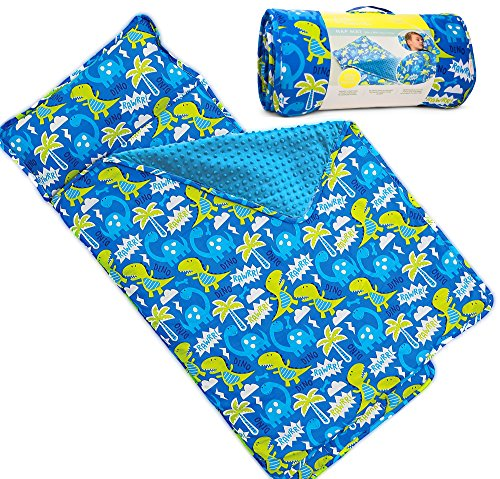 Kids Nap Mat with Removable Pillow - Soft, Lightweight Mats, Easy Clean Toddler Nap Pad for Preschool, Daycare, Kindergarten - Children Sleeping Bag (Blue with Dinosaur Design) by Bambino Bliss by Bambino Bliss