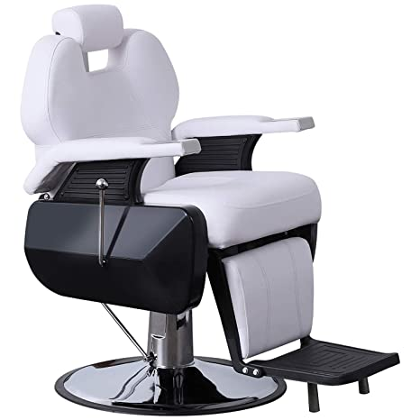 Fantastic Barberpub Heavy Duty Reclining Barber Chair All Purpose Hydraulic Salon Chair For Barbershop Stylist Tattoo Chair 2687 White Bralicious Painted Fabric Chair Ideas Braliciousco