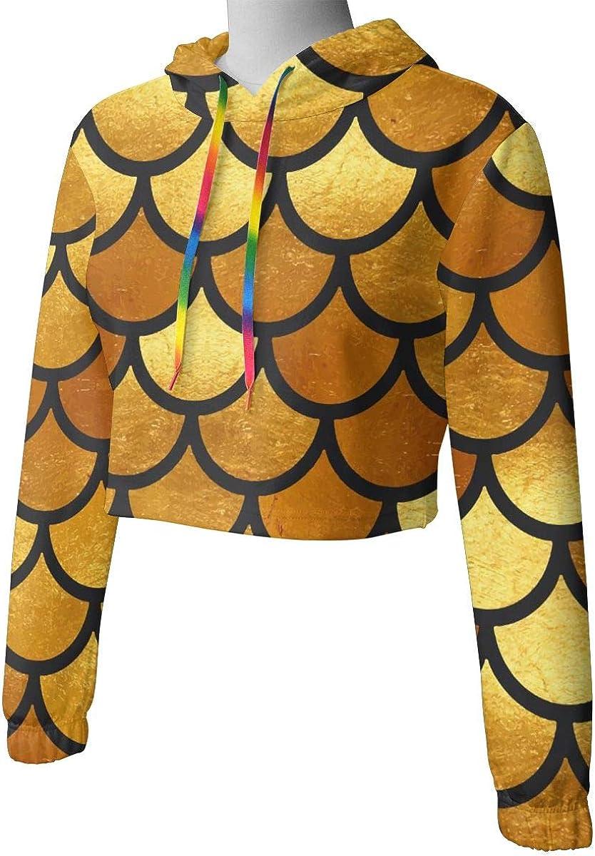 Mermaid Gold Scales Watercolor Women Sweatshirt Casual Hoodie Tshirt T Hoodies Cropped Crop Tops