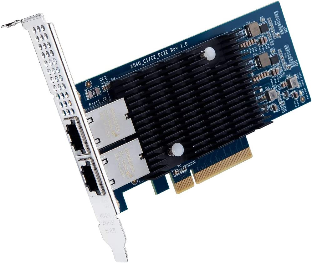 10Gb PCI-E Network Card X540-10G-2T, Dual RJ45 Copper Port CNA for PC with Low Bracket, 10GbE Converged Network Adapter(NIC), X540 Chipset, PCI-E X8