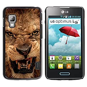 Be Good Phone Accessory // Dura Cáscara cubierta Protectora Caso Carcasa Funda de Protección para LG Optimus L5 II Dual E455 E460 // Roar Lion Angry Close Eyes Teeth Portrait