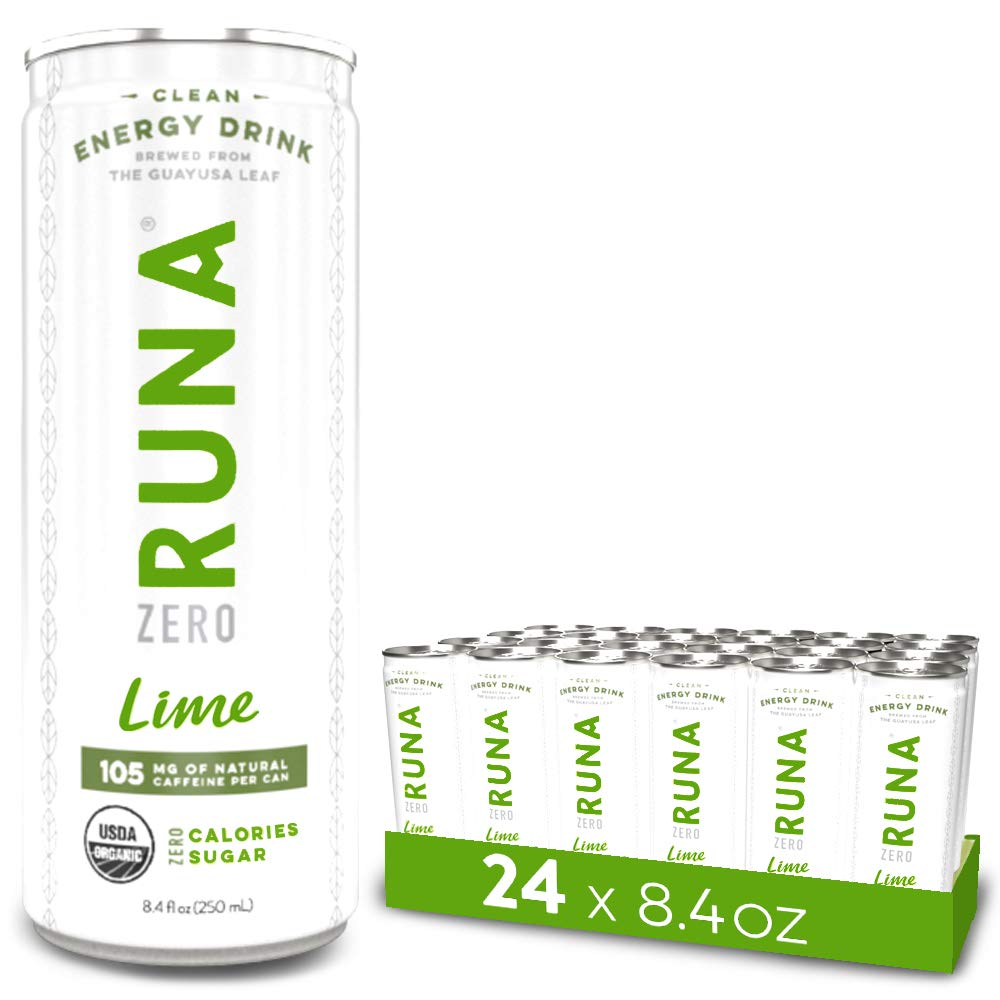 RUNA ZERO Organic Clean Energy Drink from the Guayusa Leaf, Lime, Calorie Free & Sugar Free, 8.4 Ounce (Pack of 24)