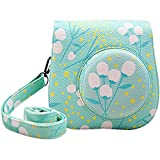 Katia Instant Camera PU Leather Case with Shoulder Strap and Pocket for Fujifilm Instax Mini 8 Instant Film Camera (Mint)