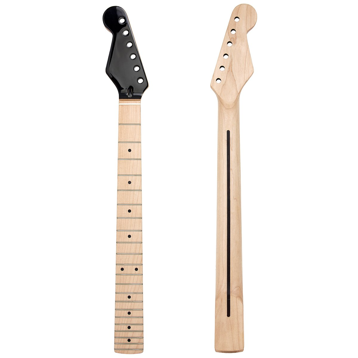 Kmise Left Hand Electric Guitar Neck for Similar Guitar Replacement Canada Maple 22 Fret Bolt On Clear Satin with Black Gloss Head