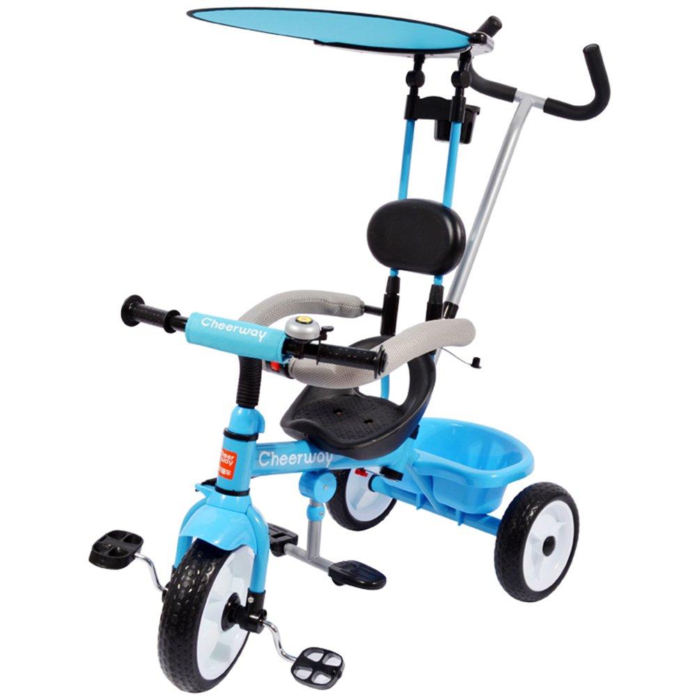 XQ 子供 軽量 EVA発泡ホイール 三輪車 1-3-5歳 赤ちゃん トロリー ブルー 子ども用自転車 B07C7C8JDB