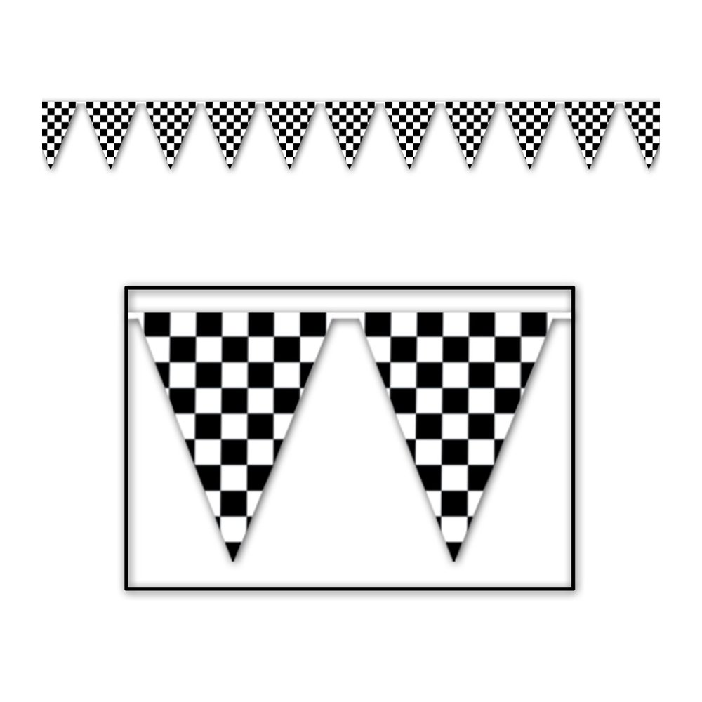 Beistle - 50532 - Checkered Pennant Banner- Pack of 12 by Beistle (Image #1)