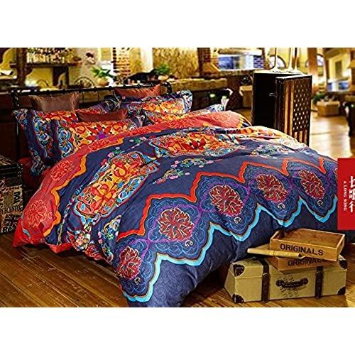 and comforter white pin queen cotton vintage blue moroccan bedspread