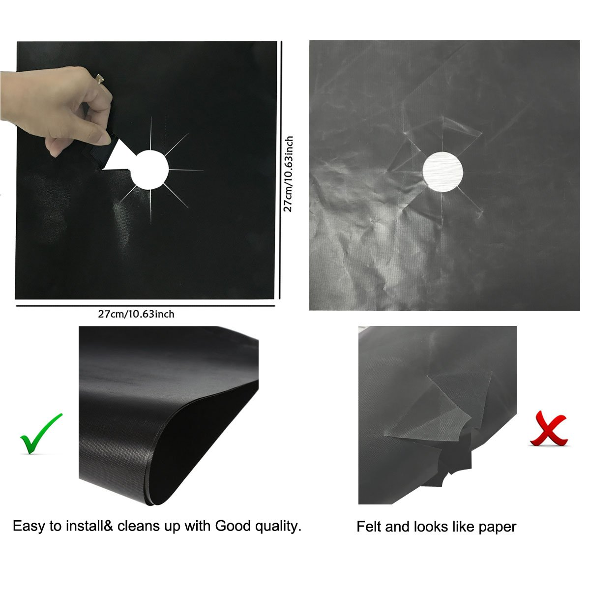 """Reusable Non-Stick NEWROAD Gas range protectors 10.6/"""" x 10.6/"""" Stove Burner Covers 0.2 mm Double Thickness -4pack Fast Clean Liners for Kitchen// Cooking"""