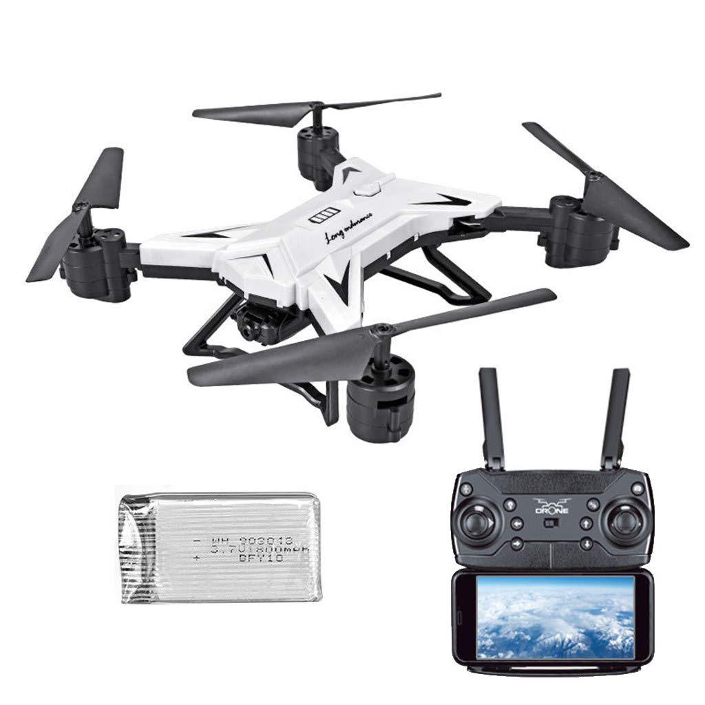 LikeroFoldable WiFi FPV RC Quadcopter Drone,with 1080P 5.0MP Camera,Selfie Drone.Beginners-Controlled Through The Mobile Phone App-One-Key Start&one-Key Landing (White)