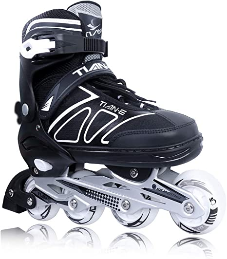 Zuwaos Boys Girls Adjustable Inline Skates for Kids and Adults with Light up Wheels Size S-XL