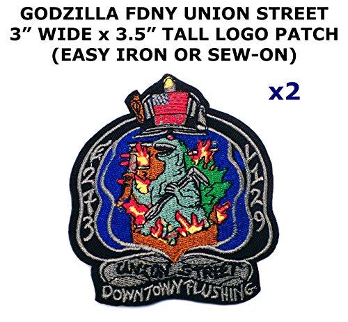 2 PCS Godzilla FDNY Union Street Theme DIY Iron / Sew-on Decorative Applique Patches 2017