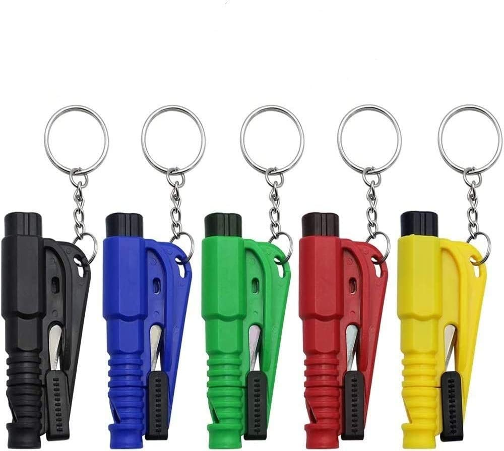 martillos de Seguridad de Emergencia Black rompe Cristales de Ventana Llavero de Herramienta de Escape de Coche YHBD 2 pcs Llavero 3 en 1 Car Life Cortador de cintur/ón de Seguridad。