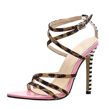 4f39ae4019b3d Amazon.com: AOP❤️Women's Open Toe Stiletto High Heels Leopard ...