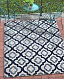Tangier Blue Indoor/Outdoor Moroccan Trellis Area Rug 5×7 (5'3″ x 7'3″) High Traffic Stain Resistant Modern Traditional Carpet Review