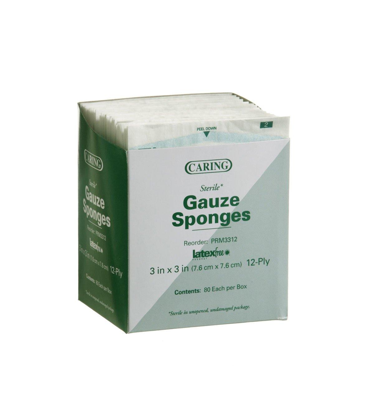 Medline PRM3312 Caring Woven Sterile Gauze Sponge, 3'' x 3'', 12-Ply (Pack of 2400)