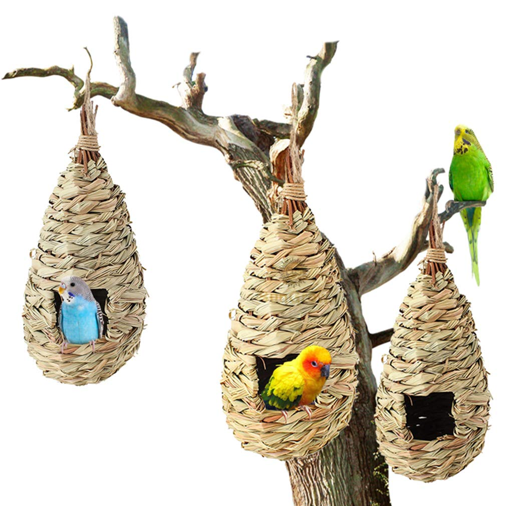 3 Pcs Grass Bird Hut --- Cozy resting place for birds - Provides shelter from cold weather - Bird hideaway from predators - Hand-Woven Teardrop Shaped - 100% Natural Fiber - Ideal for Finch & Canary