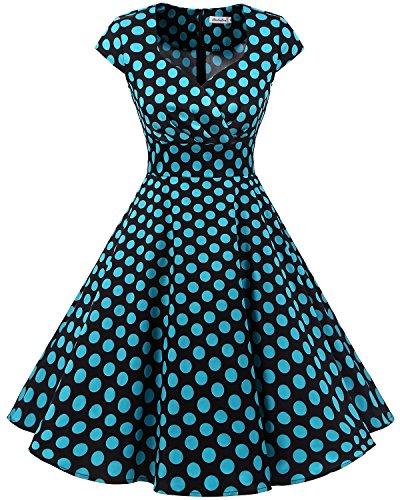Bbonlinedress Women Short 1950s Retro Vintage Cocktail Party Swing Dresses Black Blue BDot L ()