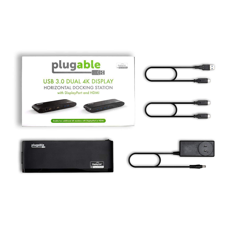 Plugable USB 3.0 Dual 4K Display Horizontal Docking Station with DisplayPort and HDMI for Windows (Dual 4K DisplayPort & HDMI, Gigabit Ethernet, Audio, 6 USB Ports) by Plugable (Image #6)