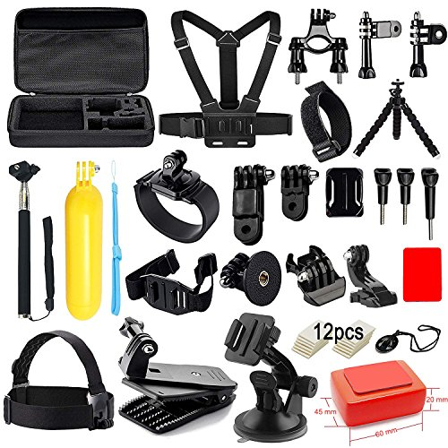 Accessory Package - Soft Digits Accessories Kit for GoPro Hero 6 5 4 3+ Session Accessory Bundle Set for Action Camera SJ4000 SJ5000 SJ6000 Xiaomi Yi-Flotation Handle+Head Strap+Chest Strap
