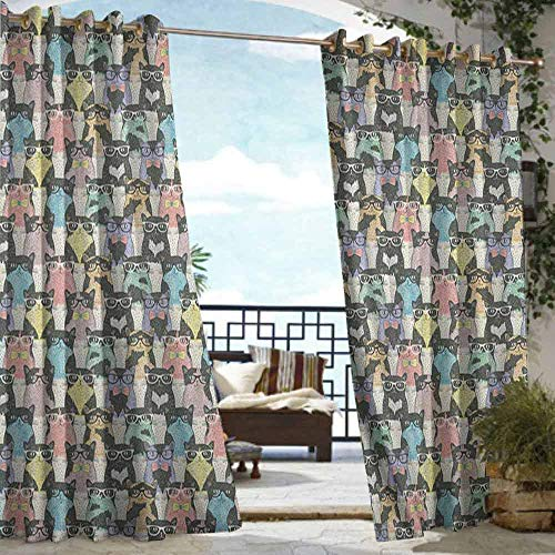 Andrea Sam Indoor/Outdoor Single Panel Print Window Curtain Cat,Retro Style Pattern with Cute Cats Hipster Sunglasses Bow Ties Hand Drawn Style Vintage, Multicolor,W96 xL96 Silver Grommet Top ()