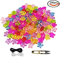 WXBOOM 200pcs 11mm Assorted Transparent Colorful Acrylic Bulk Beads Clear Plastic Star Beads with 1 Pair of Scissors, 1 Black and 1 White Cord for Jewelry Making Kids DIY