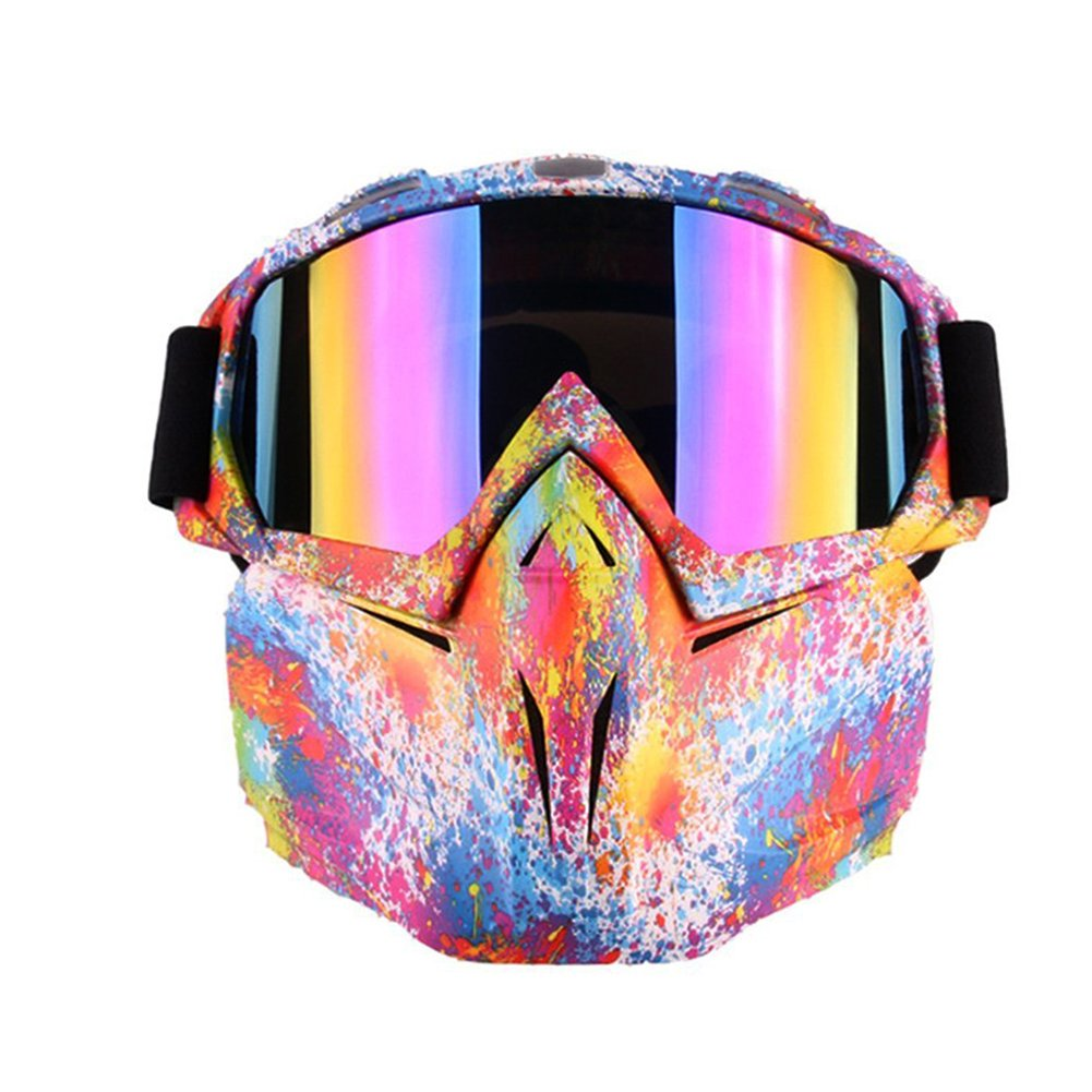 Motorcycle Goggles Mask for Airsoft/CS/Paintball/Skiing/Riding/Cycling/Halloween/Costume Ball-UV Proof Windproof Anti-fog Protective Detachable Adjustable Tactical Glasses (Multicolor Pattern) by PiscatorZone