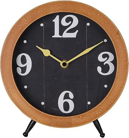Nikky Home Horloge de table avec chevalet Quartz Analogique Vintage Design Bureau et /étag/ère pour le salon D/écoration de salle de bain en bois couleur naturelle Noir Horloge