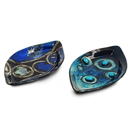 CAPRILO Set de 4 Platos Decorativos Abstractos para Entrantes Azules Vajillas y Cuberterías de Cristal.