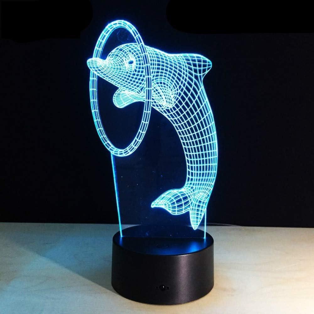 KangYD Lovely Dolphin 3D Night Lamp, Art Deco Lamp, Colorful, Child Gift, Touch 7 Color (Black Base), Regalo De Halloween, Lámpara De Ilusión Óptica: Amazon.es: Iluminación