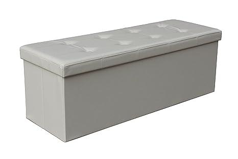 43u0026quot; Long Faux Leather Folding Storage Bin u0026 Bench Seat u0026 Ottoman Foot Rest  sc 1 st  Amazon.com & Amazon.com: 43